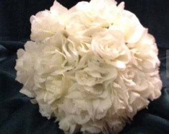 wedding bridal bouquet silk flowers white roses