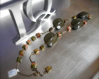 Upcycled Vintage Necklace, Jasper Semi-Precious Stones, Lucite Turtle back beads, Antiqued Brass, One of a kind, Olives Corals, Boho, Autumn