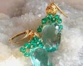 VALENTINES DAY SALE Green Quartz Gemstone Cluster Gold Vermeil Earrings Green Goddess Earrings