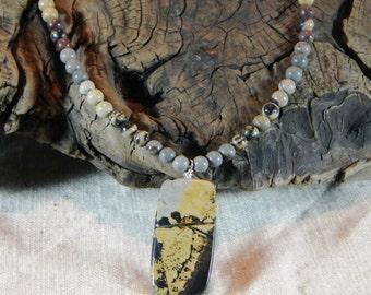 "Gray brown Chinese writing jasper necklace 20"" long reversible pendant Chohua jasper semiprecious stone jewelry gift bag 11690"