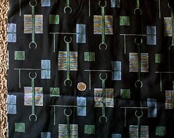 Vintage 40s Bianchini's Gymnasium Silk Taffeta Geometric Print Fabric 4.5yd City Of Paris San Francisco