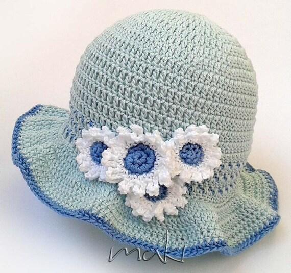 Daisy Crochet Baby Hat Pattern : Crochet pattern Daisy baby summer hat Summer baby hat