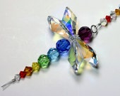 m/w Swarovski Crystal RARE AB LOGO Wings Double Chakra Dragonfly SunCatcher Car Charm Ornament, Includes an Elements Tag for Authenticity