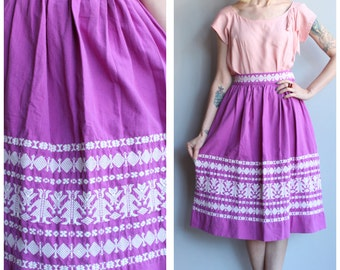 1950s Skirt // Guatemalan Embroidered Skirt // vintage 50s skirt