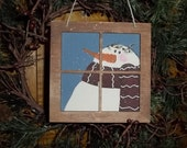 Hand Painted Window Frame Ornament Snowman Christmas