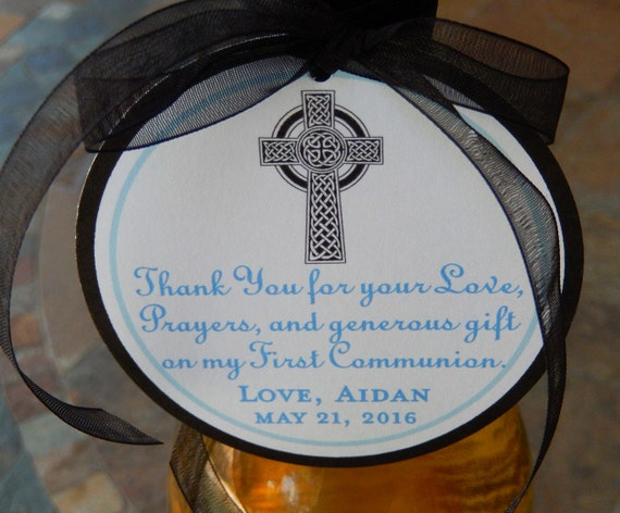"""3"""" Celtic Cross Custom Baptism or Communion Favor Tags - For Wine Bottles - Favor Boxes - Party Favors - (40) 3"""" personalized printed tags"""