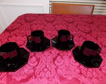 Arcoroc Black Octime Demitasse Set for 4 cups and saucers