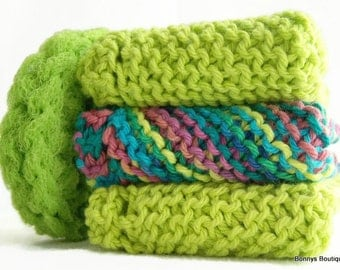 Dishcloth Lime Green Multi Color Set Pot Scrubber