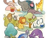 "The Alphabet Zoo 11"" x 14"" Poster"