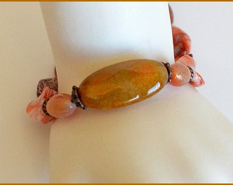 Orange - Beige - Copper - Agate - Beaded Bracelet
