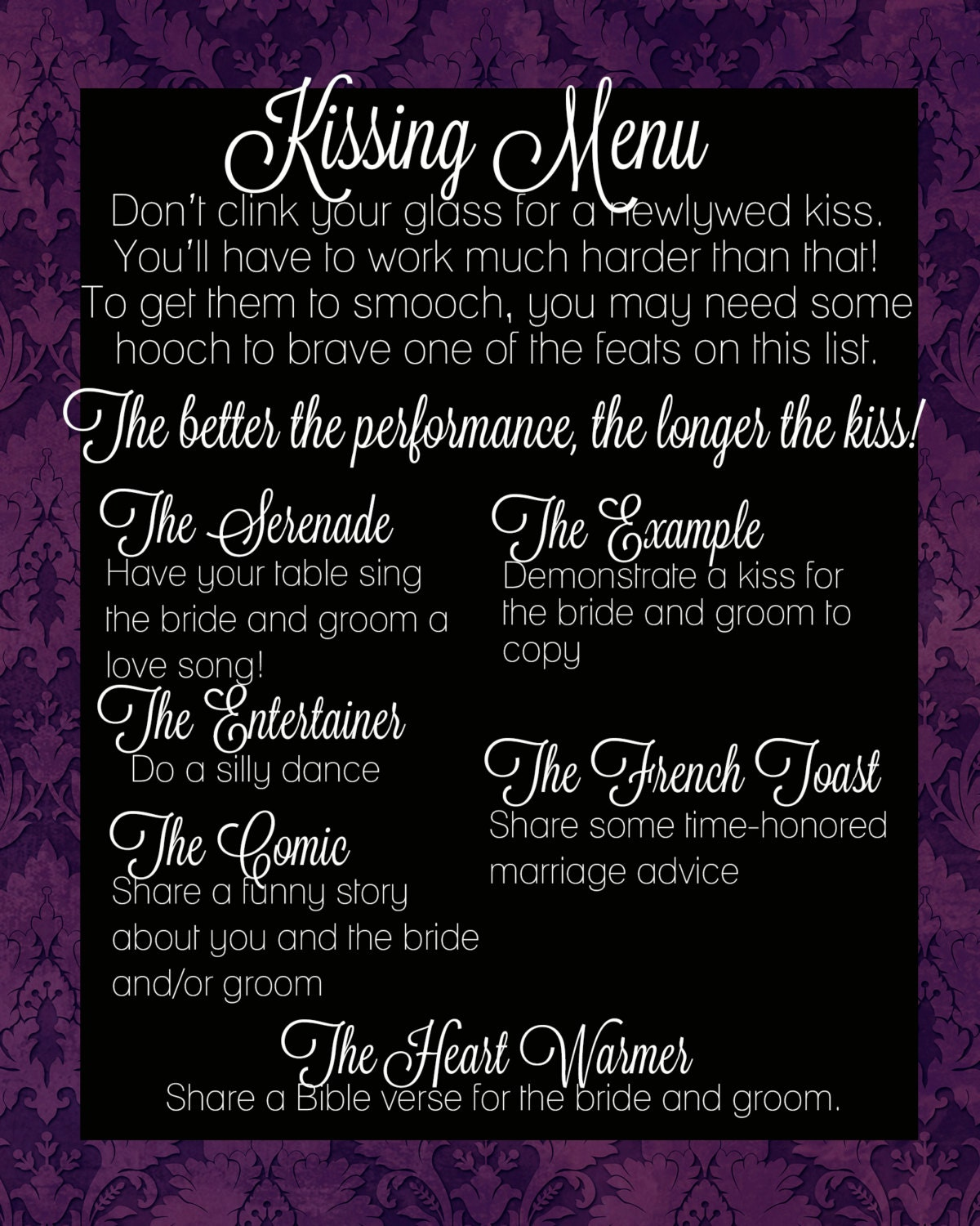 The Kissing Menu Wedding Decorations By SteviSaylerPhoto