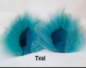 Fuzzy Teal Blue Cat Ears and / or Tail