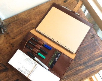 iPad Folio, Brown Leather Padfolio with Pockets, Travel iPad Folio Leather Case Holds Pen Cards Notepad Hand Sewn in NY