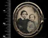 Rare 1850s Daguerreotype Photographic Brooch ~ Little Boys ~ Memento Mori / Mourning Jewelry?