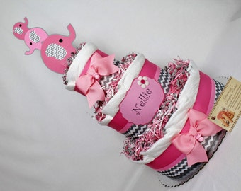 Elephant Baby Diaper Cake Pink Girls Shower Gift or Centerpiece