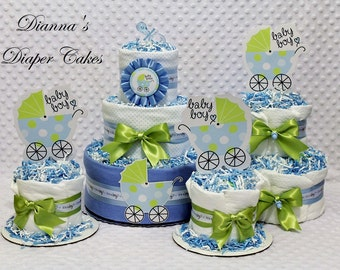 Baby Diaper Cake Blue or Pink Set of 4 pieces Shower Gift Centerpiece