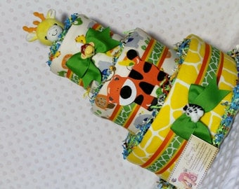 Baby Diaper Cake Zoo Animals SELECT GENDER and TOPPER Shower Gift Centerpiece