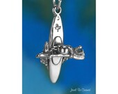 Kayaking Charm Sterling Silver Kayak Paddling Water Sport 3D Solid 925