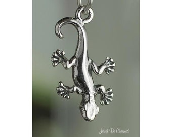 Gecko Salamander or Newt Charm Sterling Silver Amphibian Solid .925
