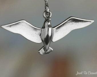 Seagull Charm Sterling Silver Bird Gull Seagulls Ocean Beach Solid 925