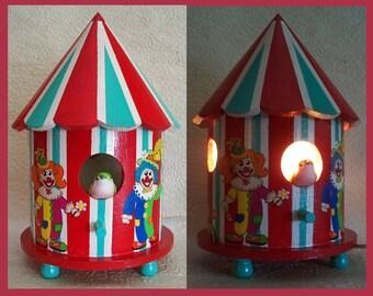 Handmade, Hand Painted, Circus Clown Birdhouse Nightlight Lamp, Childrens Room light, Nursery Nightlight, Tabletop, Unique Gift