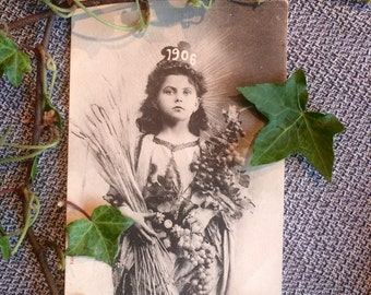 Victorian  French Real Photo Postcard - Girl of 1906 - Wheat Sheaves - Fruit - Grapes