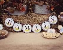 """Through the Woods Rosette """"Family"""" Banner by Loralee Lewis"""