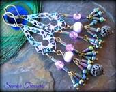SALE Shabby Chic Antiqued Brass Filigree Victorian Chandelier Earrings, Lilac Turquoise Patina, Boho Chic Earrings, Long Bohemian Earrings