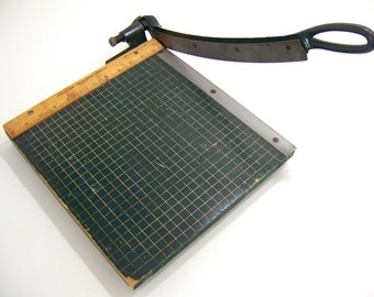 Paper cutter, trimming board cuts photos prints cards scrapbook stock, wood with sharp auto lift blade for home office arts & crafts studio