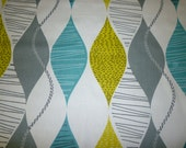 """BIG 27 x 19"""" Large Teal FQ Fat Quarter Oversized Fabric Green Grey Black Upholstery Craft Material Funky Geometric Cotton"""