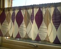 "Purple Grape Valance Cafe Curtain Funky Geometric Rod Pocket Ruched 54"" x 18"" 100% Cotton"