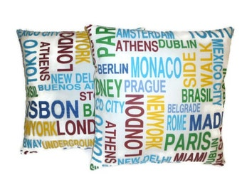 "PAIR Funky Retro Metro London NY Paris Cushion Covers Designer Pillowcases Shams Slips Scatter Throw 16"" (40cm)"