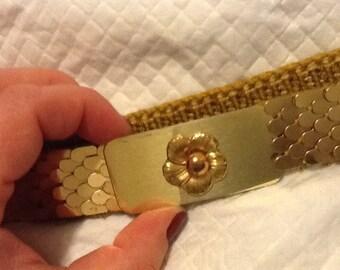 Vintage Gold Fish Scale Belt Flower Belt Buckle Elastic