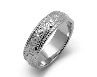 Art Nouveau Millgrain Wedding Ring White Gold