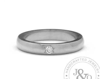 Womens Diamond Wedding Ring White Gold Handmade Wedding Band Comfort Fit