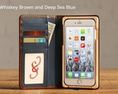 SECONDS - The Luxury Book Wallet Case for iPhone 6 Plus/6S Plus - Whiskey Blue