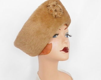 Vintage 1960s hat, camel faux fur, Lazarus West Germany