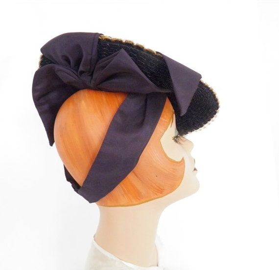 1940s tilt hat, vintage blue with satin ribbon