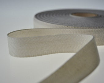 "Twill Tape, 100% Organic Cotton, Natural (undyed), Sold by the Yard, 1/2"" Wide"