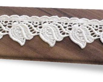 100% Organic Cotton Lace, Natural, Undyed, Sold by the Yard, 30mm