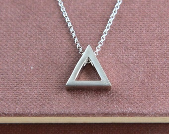 SALE, Triangle Necklace, Triangle Pendant Necklace, Geometric Necklace, Triangle Jewelry, Simple Necklace,Festival Jewelry, Everyday Jewelry