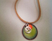 Om yoga necklace sea green and orange
