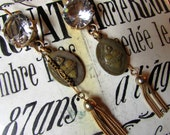 Antiique sacred heart earrings large crystal open back bezel metal tassel religious catholic one of a kind jewelry assemblage