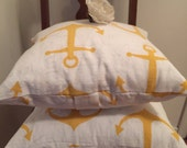 Shabby Chic Pillow Cover, Yellow Anchor Pillow Cover, 2 Pillow Covers, Canvas Fabric