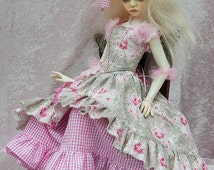 Crystal Summer Pink outfit for Dollstown SD and similar 60cm BJD + crystal trainers.