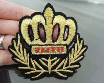 Iron On Patch - Crown Patches Gold patch Applique embroidered patch Sew On Patch