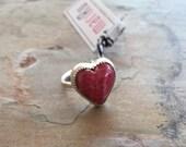 Rhodochrosite HeartSterling Silver Ring