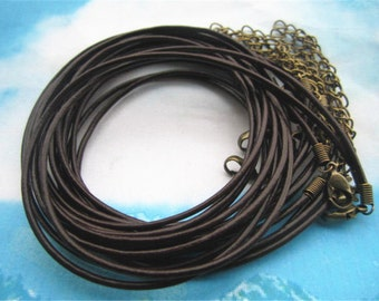 Very small finish--30pcs 16-18 inch adjustable 1.5mm thickness brown genuine leather necklace cords with antiqued bronze lobster clasps
