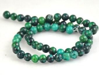 """Azurite Chrysocolla Jasper Round Beads Gemstone 6mm about 62beads green Azurite Full Strand 15.5"""""""