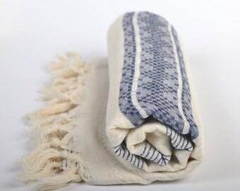 linen towel, high quality, beach towel, quick dry, peshtemal, turkish towel, beige & dark blue, guest bath towel, lightweight, tablecloth